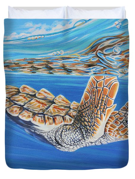 Duvet Cover featuring the painting First Dive by Jane Girardot