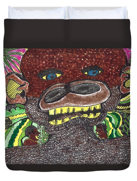 Duvet Cover featuring the drawing First Jungle by Don Koester