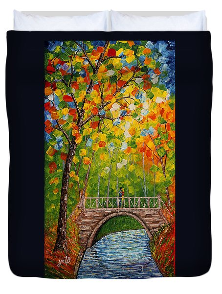 Duvet Cover featuring the painting First Kiss On The Bridge Original Acrylic Palette Knife Painting by Georgeta Blanaru