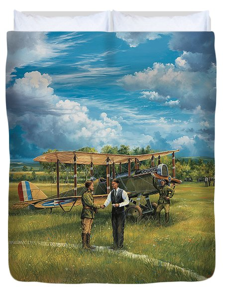 First Landing At Shepherd's Field Duvet Cover by Randy Green