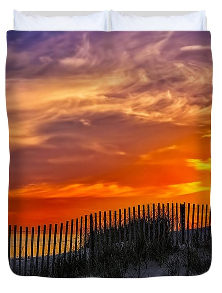 First Light At Cape Cod Beach  Duvet Cover by Susan Candelario