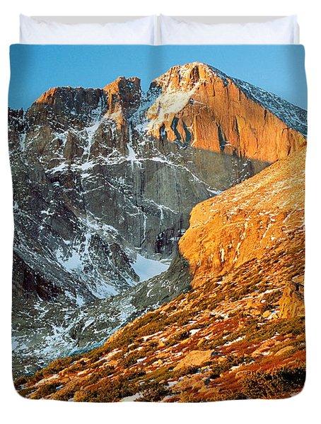 First Light At Longs Peak Duvet Cover