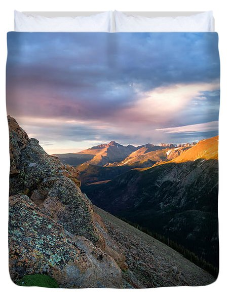 First Light On The Mountain Duvet Cover