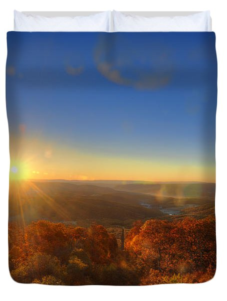 First Morning Light Striking Top Of Trees Duvet Cover by Dan Friend