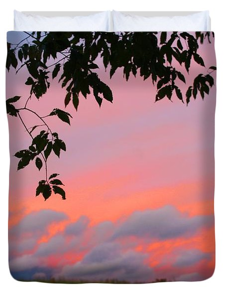 Duvet Cover featuring the photograph First October Sunset by Kathryn Meyer