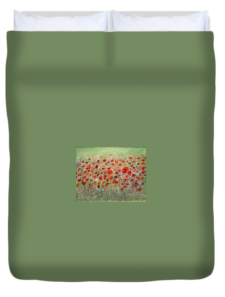 Duvet Cover featuring the painting First Poppies by Dorothy Maier