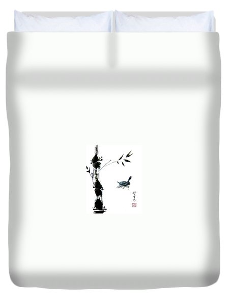 Duvet Cover featuring the painting First Reflection by Bill Searle
