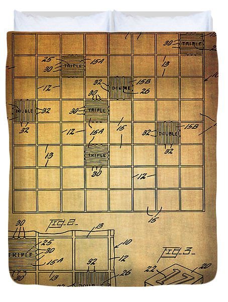 First Scrabble Game Board Patent From 1956  Duvet Cover