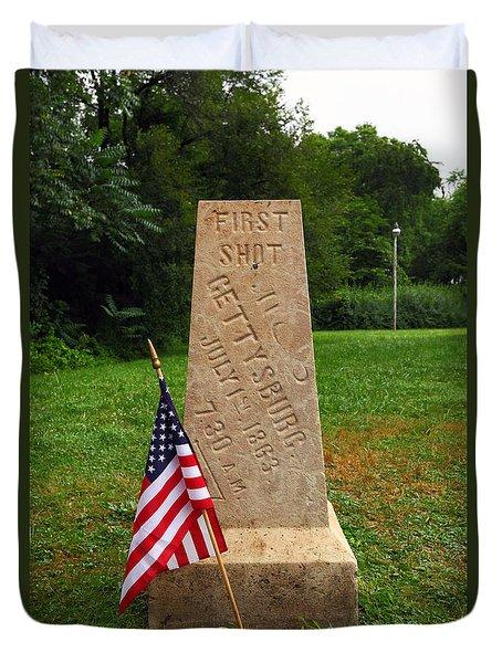 First Shot Monument Gettysburg Duvet Cover by James Brunker
