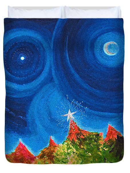 First Star Christmas Wish By Jrr Duvet Cover by First Star Art