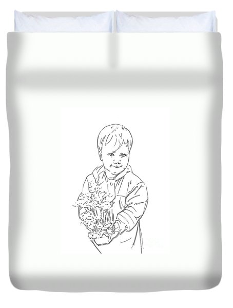 Duvet Cover featuring the drawing First Time Growing Strawberries  by Olimpia - Hinamatsuri Barbu