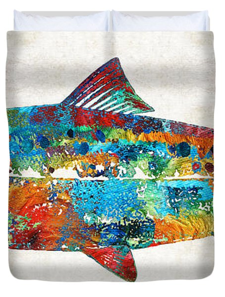 Fish Art Print - Colorful Salmon - By Sharon Cummings Duvet Cover