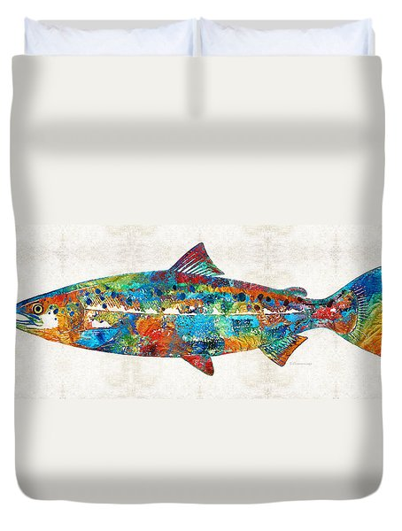 Fish Art Print - Colorful Salmon - By Sharon Cummings Duvet Cover by Sharon Cummings