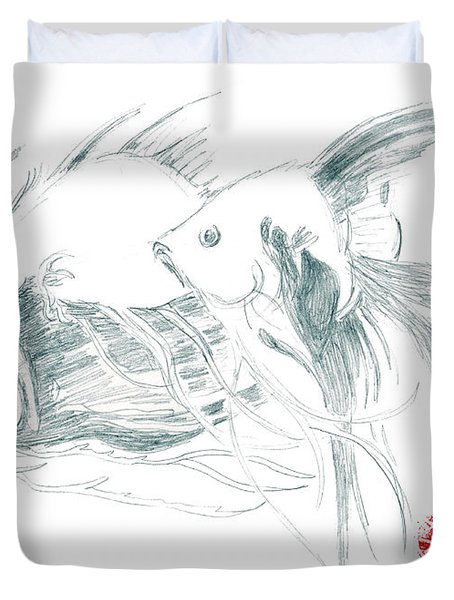 Duvet Cover featuring the drawing Fish by Dianne Levy
