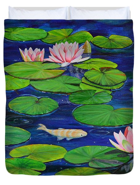 Duvet Cover featuring the painting Tranquil Pond by Mary Scott