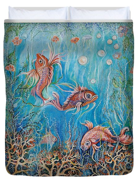 Fish In A Pond Duvet Cover