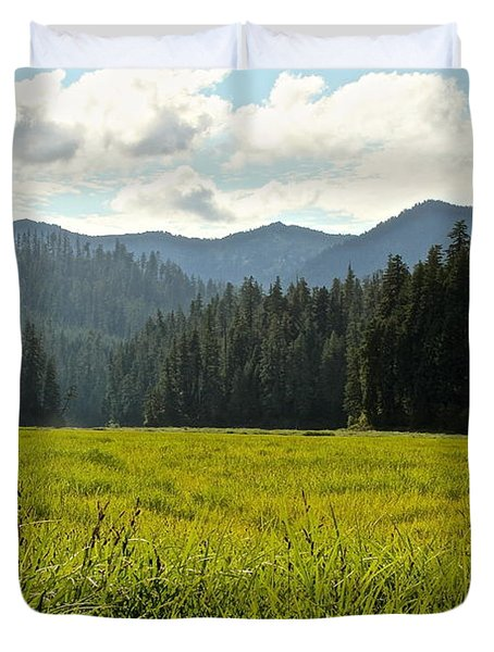 Fish Lake - Open Field Duvet Cover by Laddie Halupa