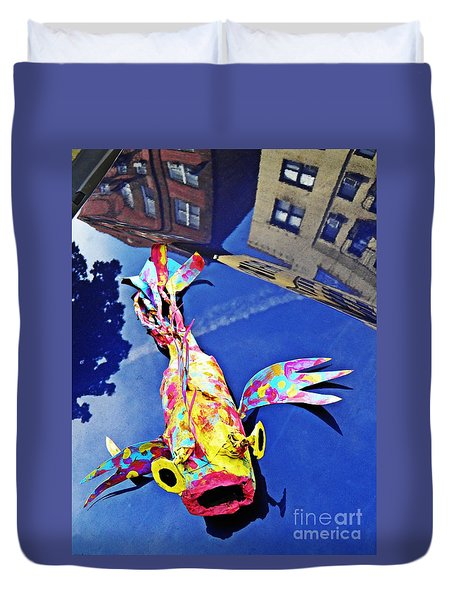 Fish Out Of Water Duvet Cover by Sarah Loft