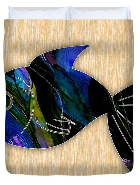 Fish Painting Duvet Cover by Marvin Blaine