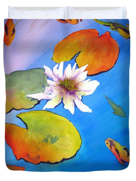 Fish Pond I Duvet Cover by Lil Taylor