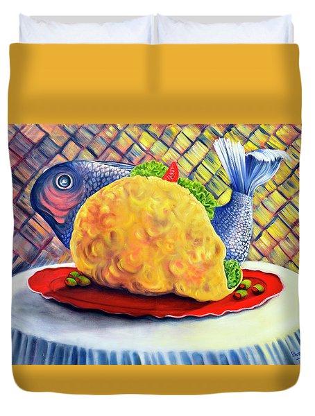 Fish Taco Duvet Cover by Randy Burns