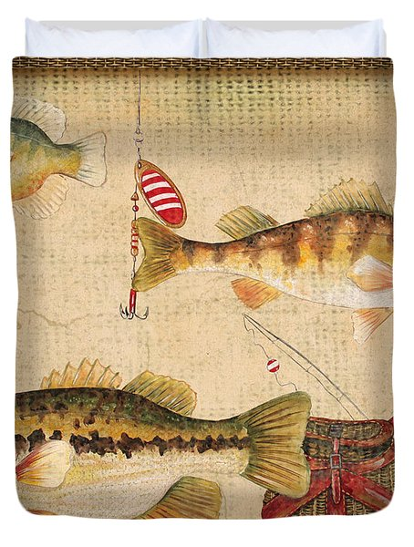 Fish Trio-a-basket Weave Border Duvet Cover