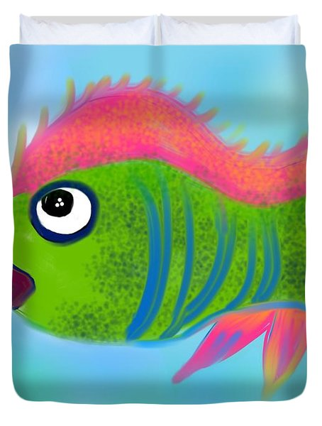 Duvet Cover featuring the digital art Fish Wish by Christine Fournier