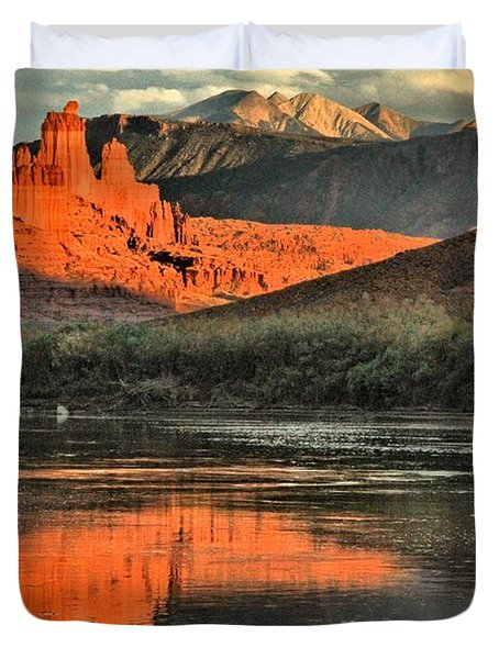 Fisher Towers In The Colorado Duvet Cover by Adam Jewell