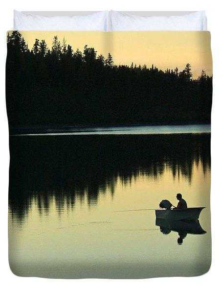 Fisherman At Dusk Duvet Cover by Nancy Harrison