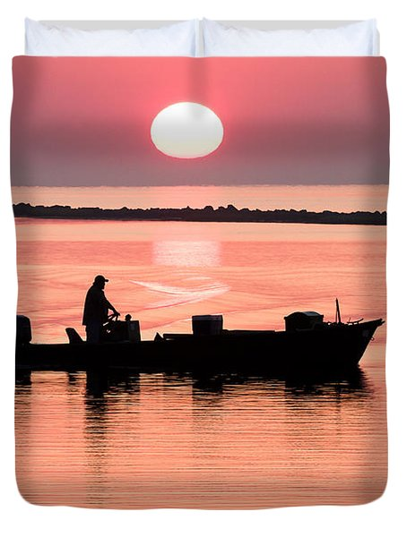 Fisherman At Sunrise Apalachicola Bay Florida  Duvet Cover by Bill Swindaman