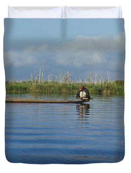 Fisherman On The Inle Lake Duvet Cover