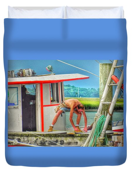 Fisherman Working On His Boat Duvet Cover by Patricia Greer