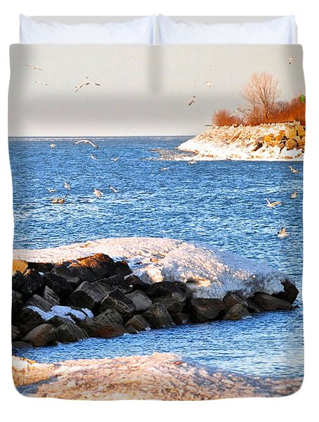 Fishermans Cove Duvet Cover by Frozen in Time Fine Art Photography