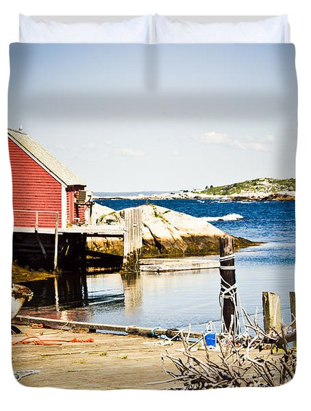 Fisherman's Cove Duvet Cover by Sara Frank