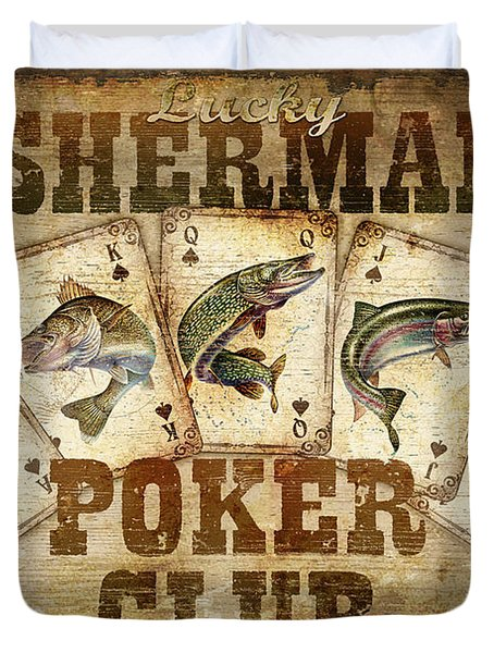 Fishermans Poker Club Duvet Cover by JQ Licensing