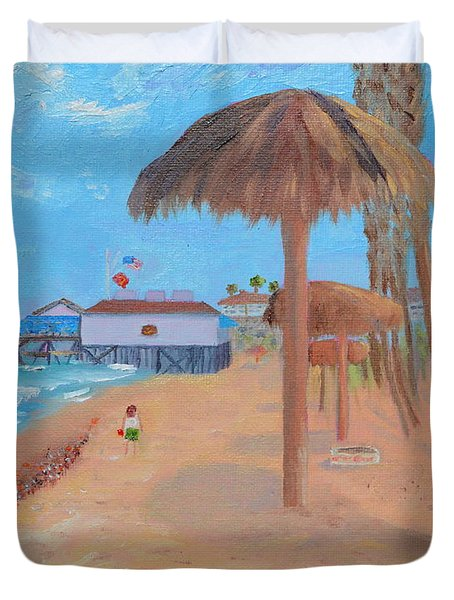 Duvet Cover featuring the painting Fisherman's Resturant by Mary Scott