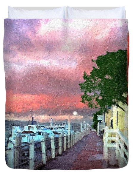Duvet Cover featuring the photograph Fisherman's Village Marina Del Mar Ca by David Zanzinger