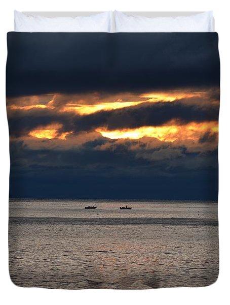 Fishermen At Sunrise Duvet Cover
