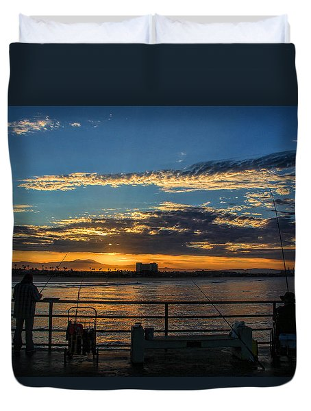 Fishermen Morning Duvet Cover