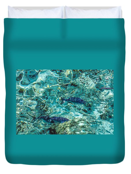 Fishes In The Clear Water. Maldives Duvet Cover by Jenny Rainbow