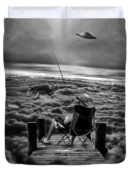 Fishing Above The Clouds Grayscale Duvet Cover