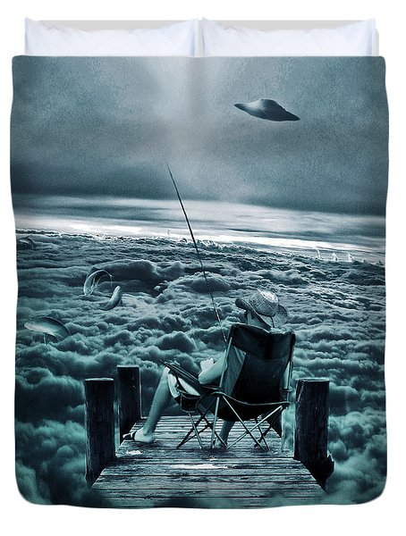 Fishing Above The Clouds Duvet Cover