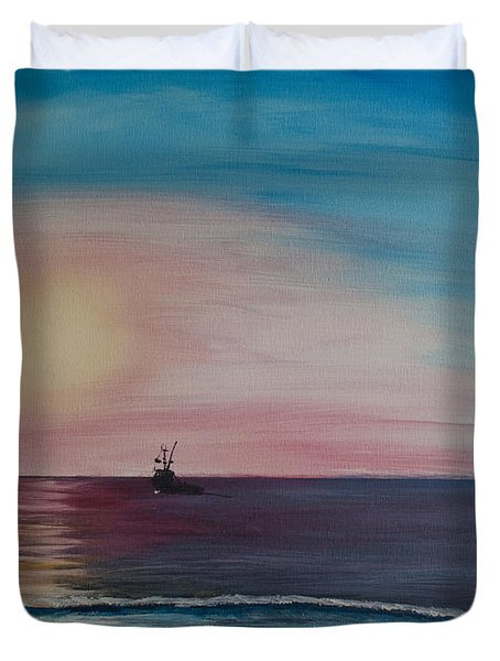 Duvet Cover featuring the painting Fishing Alone At Night by Ian Donley