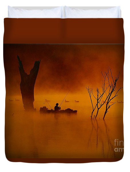 Fishing Among Nature Duvet Cover