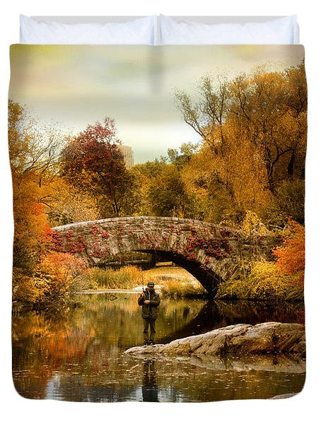Duvet Cover featuring the photograph Fishing At Gapstow by Jessica Jenney