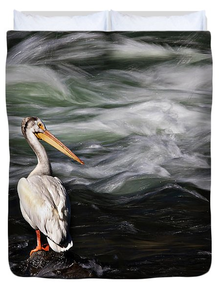 Fishing At Lehardy Rapids Duvet Cover