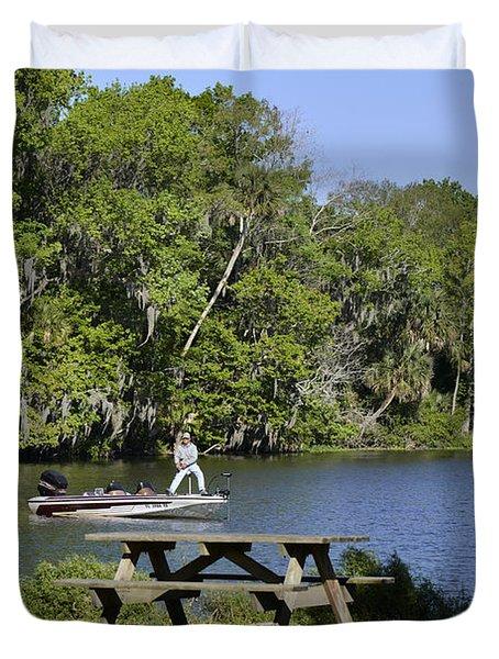 Fishing At Ponce De Leon Springs Fl Duvet Cover by Christine Till