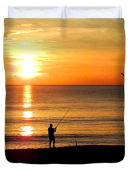 Fishing At Sunrise Duvet Cover