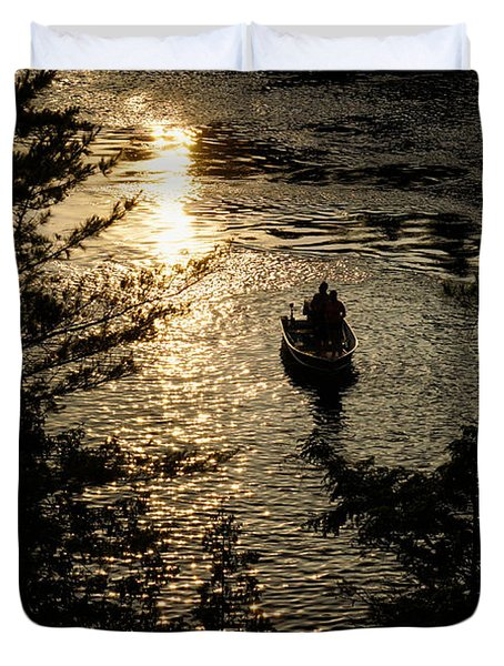 Fishing At Sunset - Thousand Islands Saint Lawrence River Duvet Cover