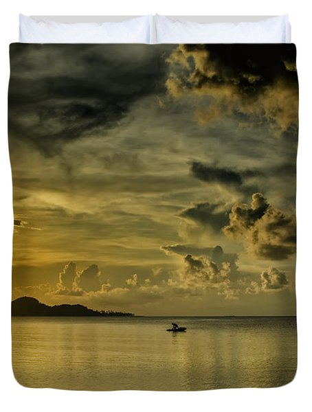 Fishing Before Dark Duvet Cover